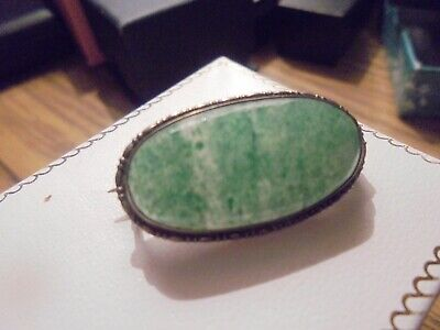 Beautiful Antique Edwardian Natural Jade Silver Brooch C 1910