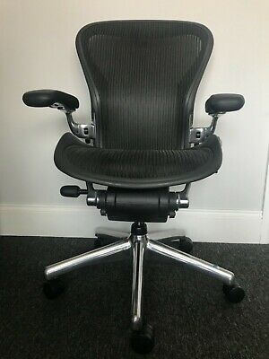 "Executive Herman Miller Aeron Polished Aluminium Size B (upto 6'1"")"