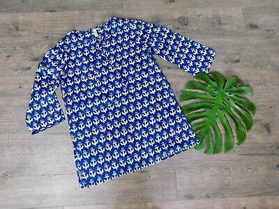 Rock Flower Paper Blue Tunic Top Size Medium Beach Cover Up Sheer V