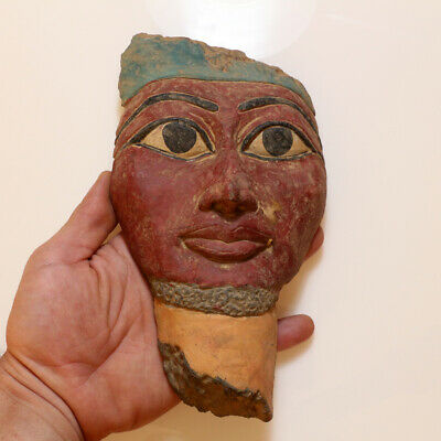 Extremely Rare Egyptian Colored Face Mask Ornament Circa 300 Bc -Huge