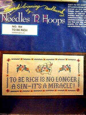 "Needles 'n Hoops Sampler Kit ""To Be Rich"" #184 Made in USA NOS"