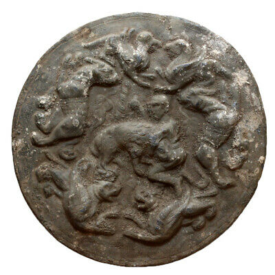 SCARCE-HELLENIC HUGE ROUND LEAD PLAQUE HERCULES ANIMALS-CA 100-50BC,1492 grams