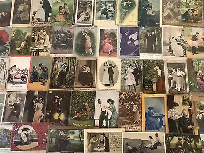 Huge Lot of VICTORIAN~Romance~Vintage Postcards -Men Ladies-People Romantic-c800