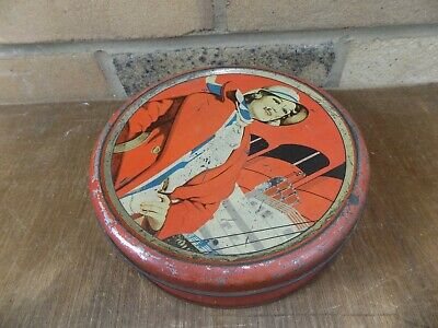 Art Deco Lady Steam Ship Image Toffee Biscuit Tin c1930s