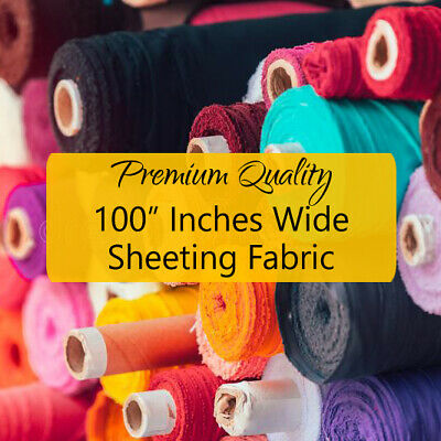 """Sheeting Fabric Solid Plain Poly Cotton Bed Crafts 100"""" Inches Wide / Per Meter"""