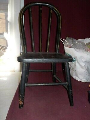 Vintage Adoarable Childs Black Spindle Back Chair With Butterfly Decals No Brand