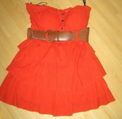 Womens M 2b BEBE Coral Orange Tiered STRAPLESS DRESS Built In Bra Mini Eyelet