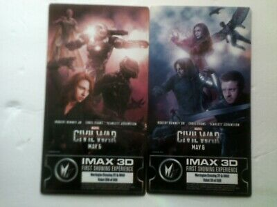 (2) Marvel Captain America Civil War IMAX Regal Collectible Movie Ticket Cards