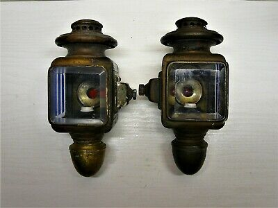 RARE MATCHED PAIR OF ANTIQUE AUTEROCHE 164 FRENCH 1900's BRASS OIL CAR LAMPS