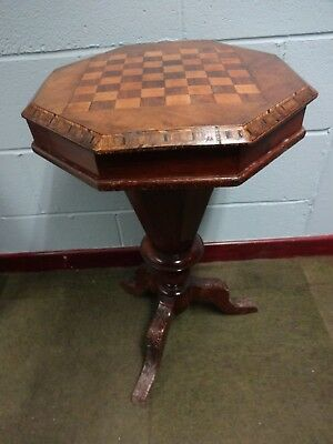 Victorian Walnut & Tunbridge Inlaid Trumpet Sewing Work / Games Table.