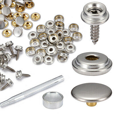 62x Snap Fastener Kit Stainless Steel Canvas to Screw Press Stud Boat Stud M5E4Z