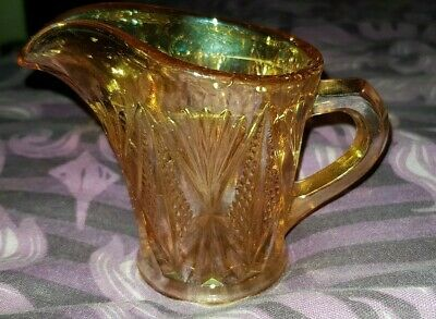 Carnival Glass Milk Jug Art Deco Sowerby Split Diamond 1930s Marigold Lustre