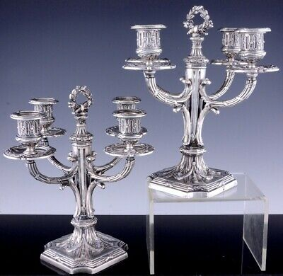 GORGEOUS PAIR c1880 FRENCH EMPIRE SILVER PLATE 4 LIGHT CANDELABRA CANDLESTICKS