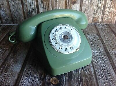 VINTAGE GREEN ROTARY DIAL TELEPHONE - DIAL PHONE RETRO 70s 80s 1