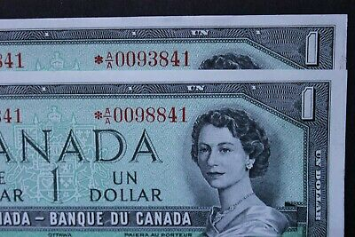 Almost Same Serial 1954 *Aa Star Replacement Notes Canada $1 One Dollar