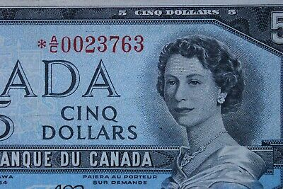 RARE  BC-39aA 1954 *AC STAR REPLACEMENT NOTES CANADA $5 FIVE DOLLAR 16K PRINTED