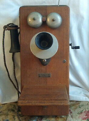 Antique Wall Phone Dean Electric Vintage Crank Wood Bells Mouthpiece Collectible