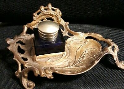 Antique Brass &  Blue Glass Desk Inkwell Set  Vintage Art Deco Footed Ink Well