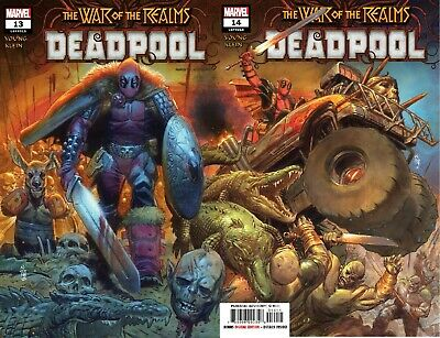 DEADPOOL 13 & 14 2019 1st PRINT CONNECTING COVERS WAR OF THE REALMS TIE IN NM