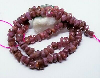 "NATURAL FACETED PINK RED RUBY ORGANIC NUGGET BEADS 238cts 15.5"" STRAND 7-10mm"