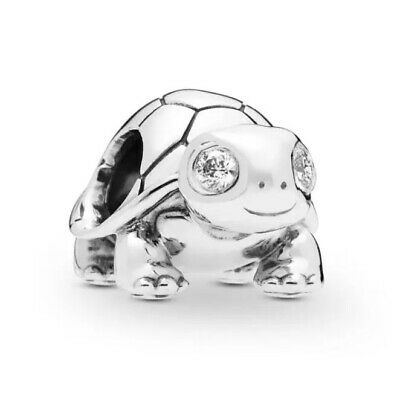 Authentic 925 Sterling Silver Bead Bright-Eyed Turtle Charm By Pandora Gembox