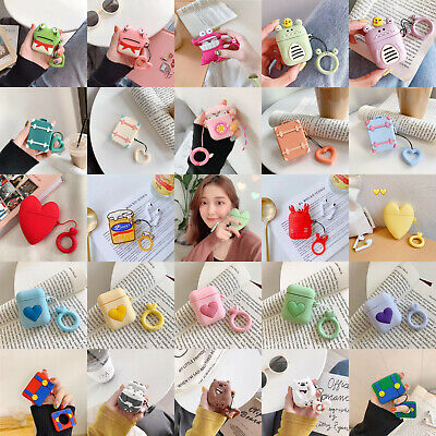 Cute Cartoon Silicone Earphone Case Protectiv Cover Skin For A pple AirPods Ring
