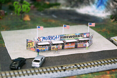 N Scale Fourth of July Fireworks Stand Building DIY Cardstock Kit
