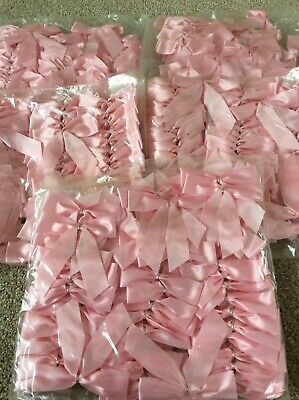 BABY PINK BOWS ideal for WEDDINGS, BABY SHOWER, NAPPY CAKES all BNIP JOBLOT