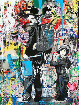 Urban Art Charlie Chaplin & Boy Stretched Canvas Prints  Abstract Different Wall