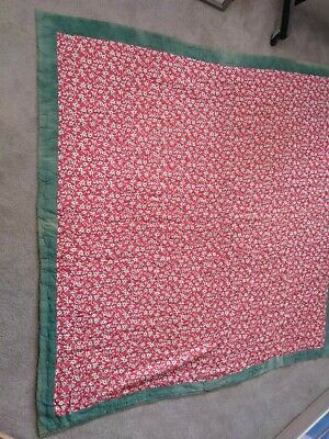 """Vintage Antique Hand Tufted Comforter Red White & Faded Green Border 78"""" Square"""