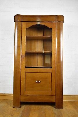 Antique style tall glazed bookcase - display cabinet