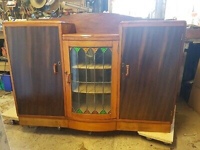 Art Deco Antique Vintage Bow Front Leadlight Buffet Cabinet Dresser Restored