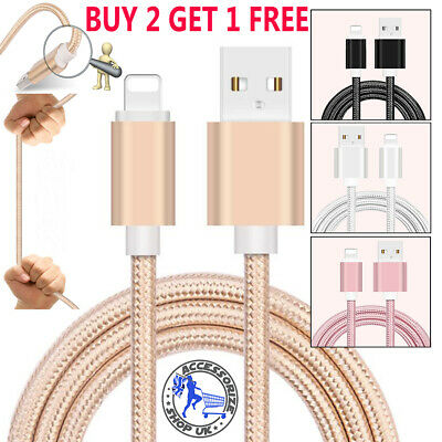 Heavy Duty Metal Braided Lightning USB Charger Cable 1M 2M For iPhone X 7 6 5
