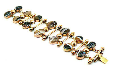 C1860, ANTIQUE 19thC VICTORIAN SCOTTISH BANDED AGATE GOLD PLATED PANEL BRACELET