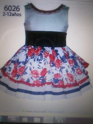 NEW  Girls ALBER Spanish Floral Dress Absolutely Beautiful Size 9/10 Years