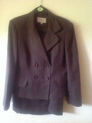 Next Brown Striped 2 Piece Skirt Suit Size 12R