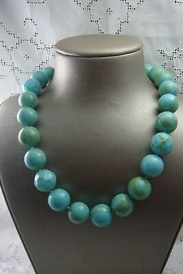 "Stella & Dot Faux Turquoise Chunky Bead Cream Hibiscus Flower Clasp 22"" Necklace"