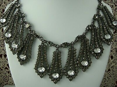 "Modern Japanned Finish Clear Gray Rhinestone Statement Dangle 18"" Adj Necklace"