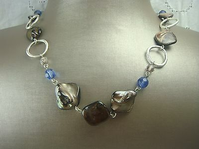 "Stunning Lia Sophia 24"" Adjustable Abalone Blue Crystal Silver Tone Necklace"