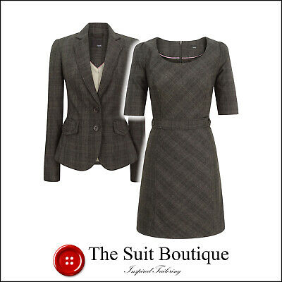 Next Brown Grey Check Jacket & Dress Suit Size Uk 8 Us 4 Womens Ladies Woman
