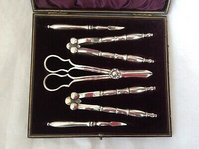 SPLENDID CASED SET OF GRAPE SHEARS, NUT CRACKERS & PICKS -  Mappin & Webb.