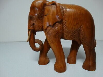 Large Wooden Elephant Statue Hand Carved Vintage