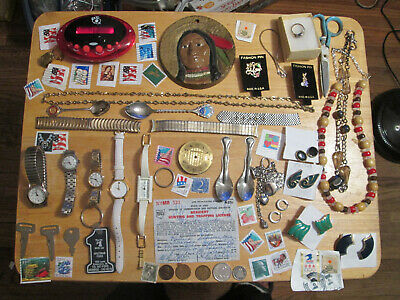 Junk Drawer Lot estate sale old coins watches lot sterling jewelry stamps ring