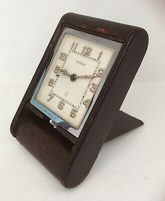 VINTAGE JAEGER LECOULTRE TRAVEL ALARM DESK CLOCK IN GOOD WORKING ORDER 1940/50s