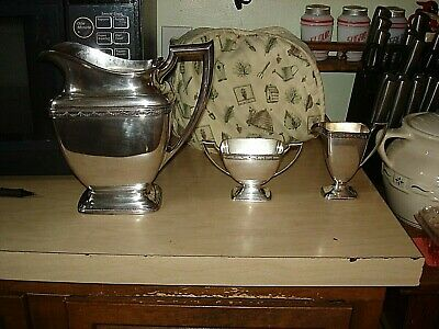 Antique Silver Plate Large Pitcher 1847 Rogers  Bros. Anniversary  + Creamer +