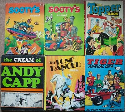 Comic Annuals Sooty Topper Tiger Lone Ranger Andy Capp Vintage/Retro Hardback