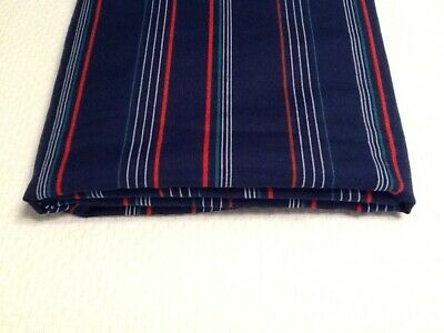 """2 Yds Vintage Red Green White Stripes on Blue Cotton Blend Shirting Fabric 60"""" W"""