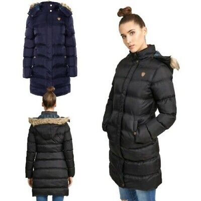 Brave Soul Womens Hoplong Faux Fur Detachable Hooded Parka Coat Quilted Jacket