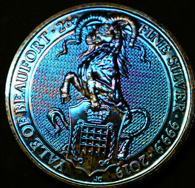 2019  Yale of Beaufort 2oz Silver Queens Beast Rainbow Toned / Toning Coin