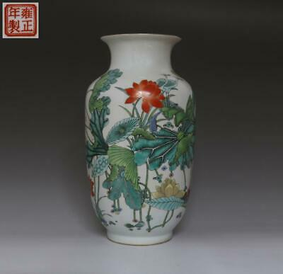 Fine Old Chinese Famille Rose Porcelain Peach Vase Yongzheng Marked 35.5Cm (444)
